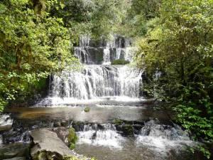 Neuseeland | Südinsel, Purakaunui Falls im Süden von Neuseeland. Blick auf den mehrstufigen Wasserfall