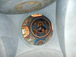 Deckenkuppel in Kloster mit Bildnis Jesu Christi