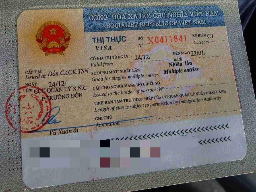Vietnam | Einreisevisum geklebt in den Reisepass