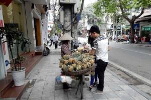 Vietnam | Norden, Hanoi. Die bequemere Variante einer Ananas-Verkäuferin, die ein Fahrrad besitzt und die Ananas auf dem Gepäckträger platziert hat. Ein Pärchen kauft gerade Ananas