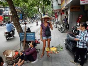 Vietnam | Norden, Hanoi. Was einfach aussieht, ist extrem schwer. Karin mit dem typischen Tragegestell einer Ananas-Verkäuferin