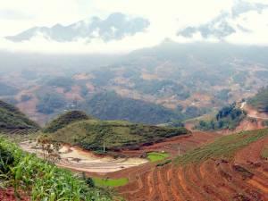 Sapa Vietnam Norden | Die endlosen Reisterrassen rund um Sa Pa. Panorama von oben auf die frisch gesäten noch braunen Reisfelder bei bedecktem Himmel mit Schleierwolken