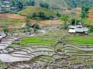 Vietnam | Norden, Panorama auf dem Weg nach Tavan bei Sa Pa auf Reisfelder und kleine Häuser