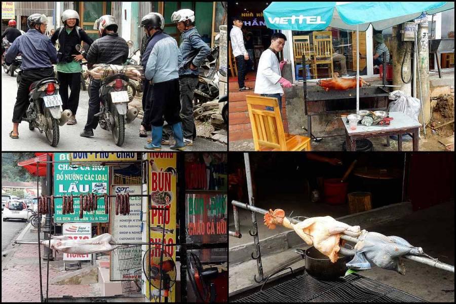 Vietnam | Norden, Eindrücke der Zubereitung von Speisen im Bergdorf Sa Pa. Collage aus verschiedenen Schweinen und Enten die über Feuer gegrillt werden