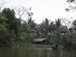 Vietnam | Süden, Nebenarm des Mekong. Ein Mann in der kleinen Gasse auf dem Mekong in seinem Boot mit dichtem Urwald