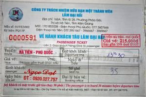 Vietnam | Süden, Ticket der Fähre von Ha Tien nach Phu Quoc