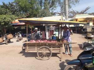 Vietnam | Süden, Verkauf von Fleisch nahe Duong Dong auf Phu Quoc. Eine Frau hinter ihrem Rollwagen bietet rohes Fleisch zum Verkauf