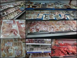 Vietnam | Eindrücke vietnamesischer Supermärkte. Collage von verschiedenen Fleischsorten verpackt in Klarsichtfolie in den Regalen