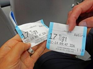 Argentinien | Gedruckte Fahrkarte der Linea Mitre von Buenos Aires Retiro ins Tigre Delta
