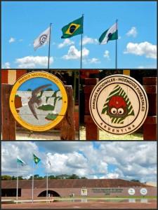 Iguazu-Wasserfälle | Modernes Besucherzentrum des Parque Nacional Iguacu in Brasilien und Schild zum Parque Nacional Iguazu in Argentinien