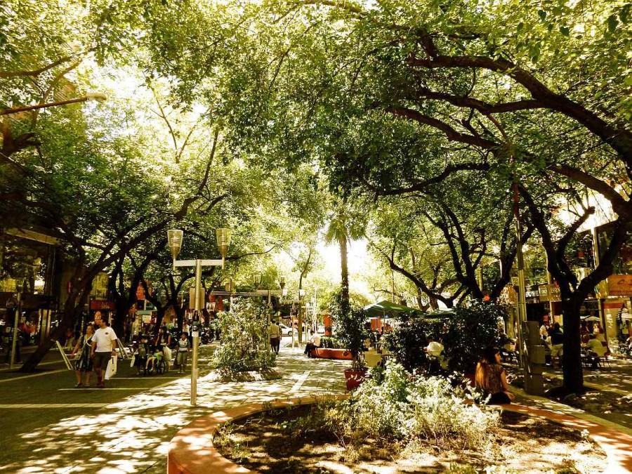 Argentinien | Schön begrünte Fußgängerzone in Mendoza