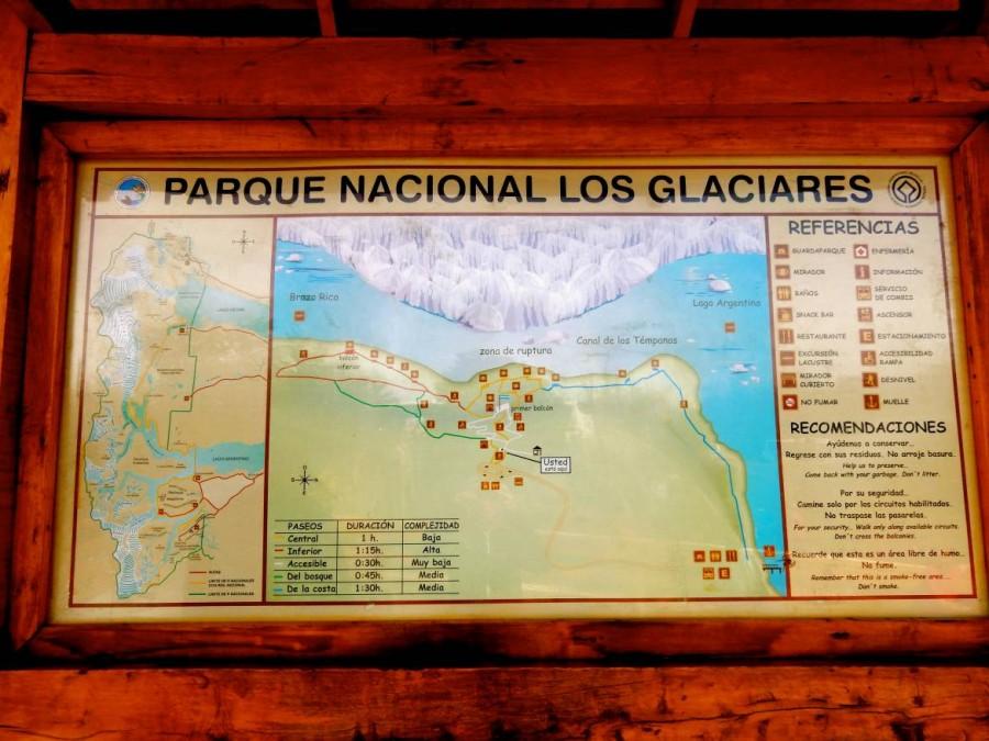 Argentinien | Patagonien, Schild des Los Glaciares National Park am Perito-Moreno-Gletscher bei El Calafate