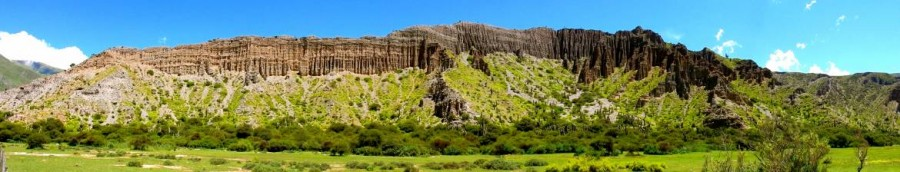 Argentinien | Panorama auf der Quebrada de Humahuaca. Bergketten bewachsen mit sattgrüner Wiese und Kakteen vor blauem Himmel