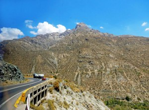 Chile | Bus Santiago - Mendoza, Straße am Paso Internacional Los Libertadores bzw. Uspallata Pass