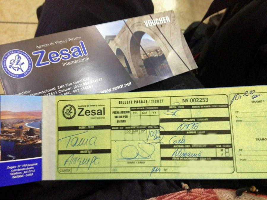 Peru | Chile, Busticket nach Arequipa ausgestellt von der Agentur Zesal in Tacna