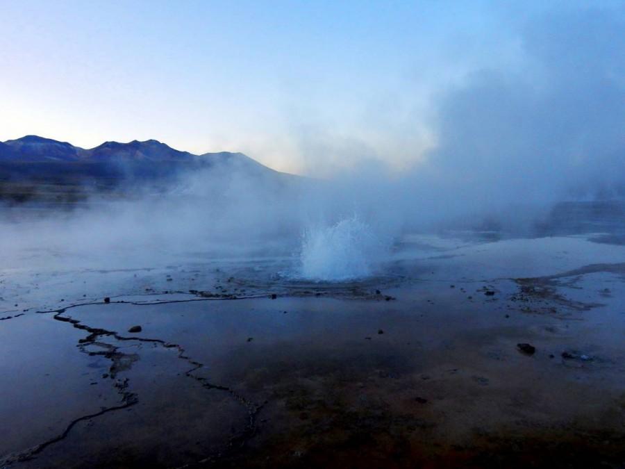 Chile | Atacama-Wüste, Fontäne und dampfende Quellen am Tatio Geysir