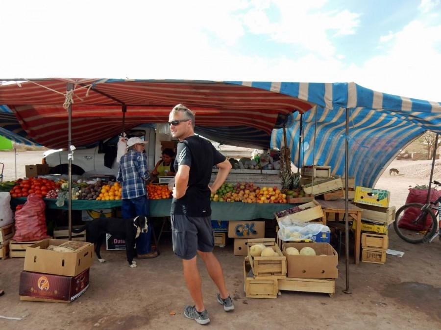 Chile | Markt in San Pedro de Atacama. Henning vor einem Obst- und Gemüsestand