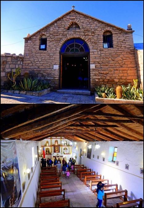 Chile | Touren in die Atacama Wüste: Kirche in Toconao am Plaza de Armas von Außen und Innen