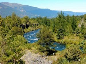 Chile | Temuco, Panorama auf die Umgebung am Truful Truful Wasserfall in der Nähe des Conguillio National Park