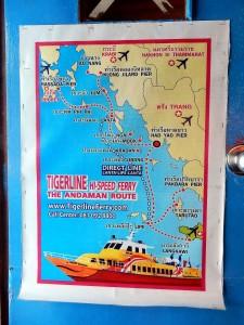 Thailand | Route durch die Andamanensee der Tigerline Fähre auf einer abfotografierten Karte