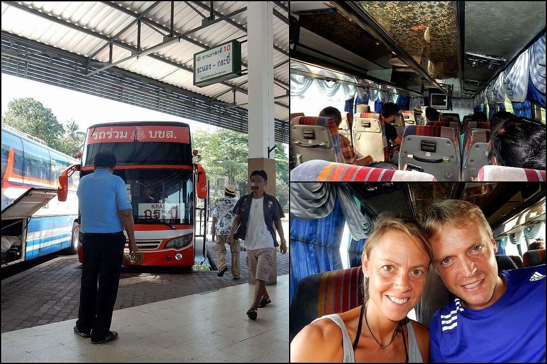 Thailand | Busfahrt von Ranong nach Krabi. Eindrücke des Busses von außen und innen