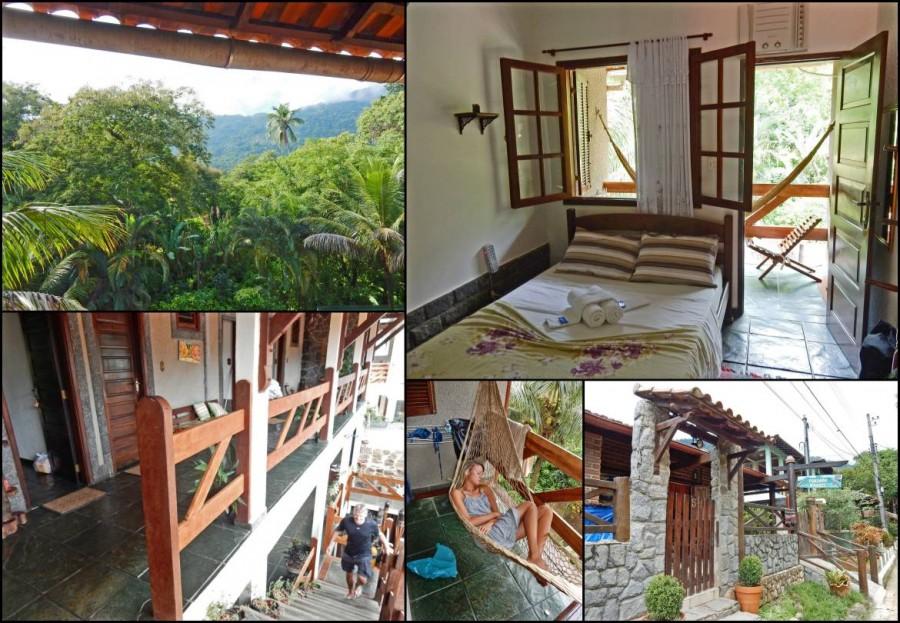 Brasilien | Ilha Grande, Die Pousada Pillel ist eine typische, gut ausgestattete Unterkunft zum fairen Preis in Abraao, Collage mit Bildern von Zimmer und Balkon mit Hängematte
