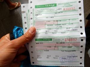 Brasilien | Ilha Grande, Costa Verde bietet komfortable tägliche Busverbindungen aus Rio zu den Abfahrtsorten der Fähren auf die Insel, Bild eines Tickets