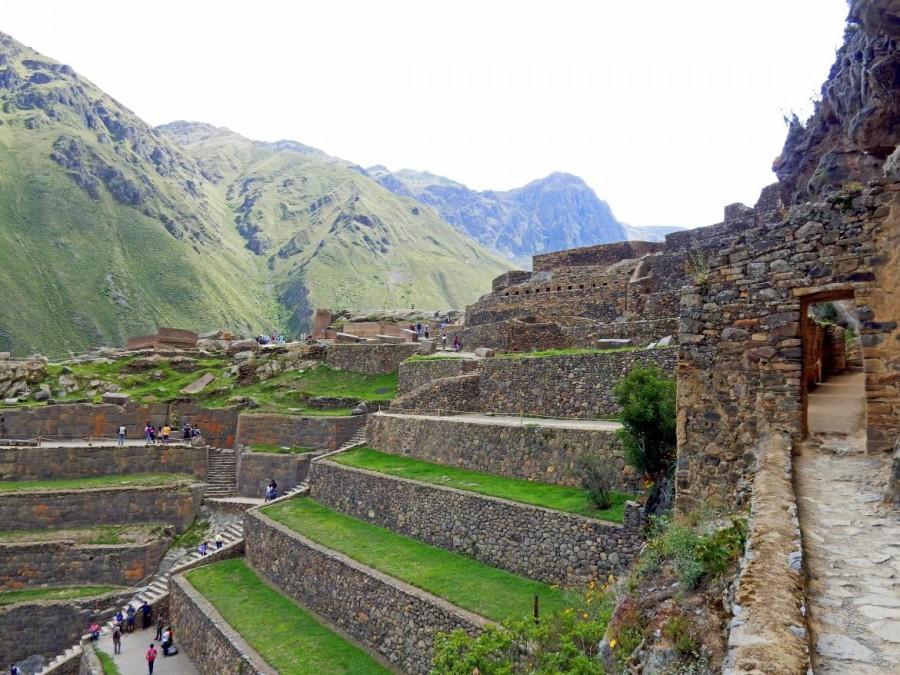 Peru | Heiliges Tal, Ollantaytambo Ruinen, Typische Terrassen für Landwirtschaft über Treppen erreichbar. Blick auf die meterhohgen Terrassen mitten in der Ruine, bewachsen mit sattgrünem Gras
