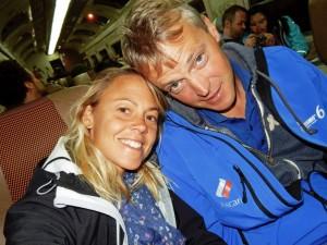 Peru | Machu Picchu, Tolles Erlebnis das Weltwunder: auf dem Weg zurück im Zug von Perurail. Karin und Henning als Selfie im Zug