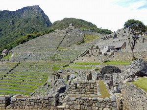 Peru | Machu Picchu, Panorama auf Wohnhäuser und zur Landwirtschaft und Verteidigung angelegten Terrassen in der Inka-Stadt