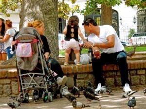 Uruguay | Montevideo, Uruguayer trinken Mate-Tee, wo sie gehen und stehen, wie hier eine Familie im Park