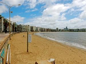 Montevideo | interessante Orte: Die sichelförmige Bucht am Playa de los Pocitos ist einer der beliebtesten Strände am Rambla. Der gelbe Stadtstrand ist vor Appartement-Häusern gelegen und erinnert an Miami