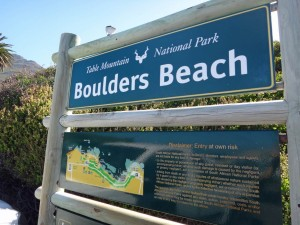 Südafrika | Kap-Halbinsel, Simons Town, Pinguine-Kolonie am Boulders Beach. Hinweisschild in Nahaufnahme