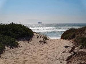 Südafrika | Kapstadt, Dünen am Blouberg Beach mit dem Meer am Horizont