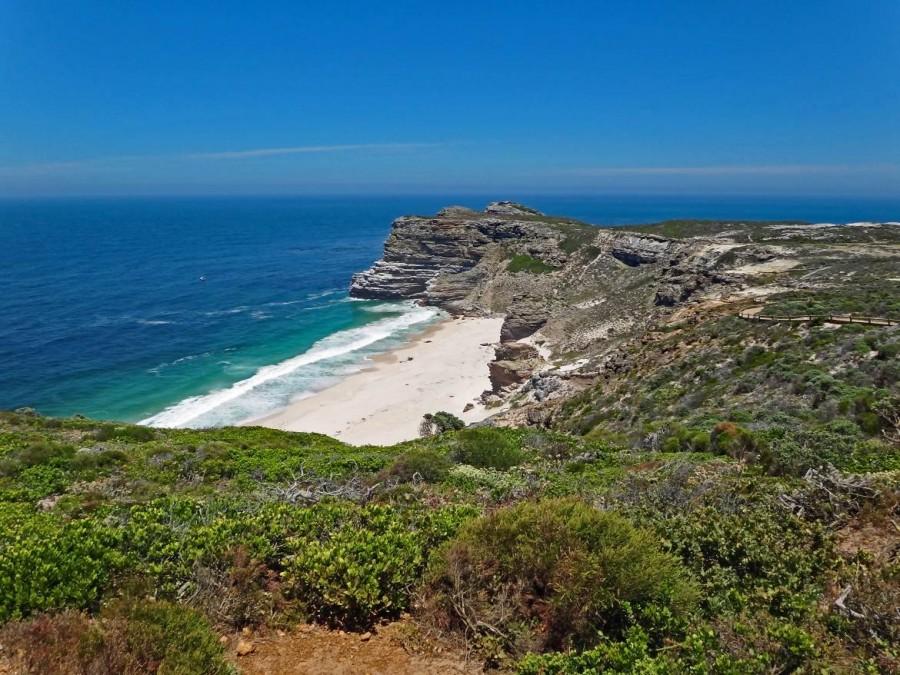 Südafrika | Kapstadt Kap-Halbinsel, Blick vom Cape Point auf das Kap der Guten Hoffnung und den Dias Beach