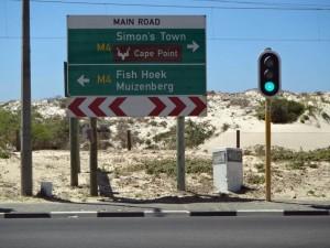 Südafrika | Kapstadt, Wegweiser nach Simons Town, Muizenberg und Fish Hoek auf der Kap-Halbinsel