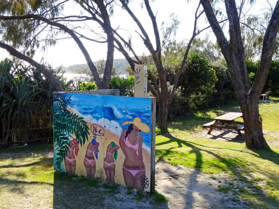 Australien | Camping, kostenlose kalte Dusche am Strand