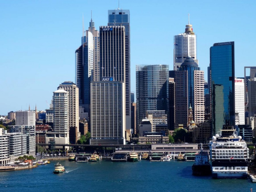 Australien | Sydney, Blick von der Fähre auf Circular Quay im Central Business District