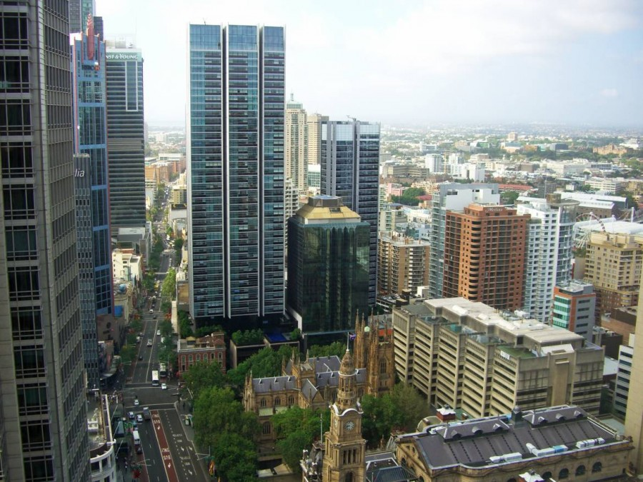 Australien | Sydney, Central Business District, Town Hall und Zentrum von oben fotografiert
