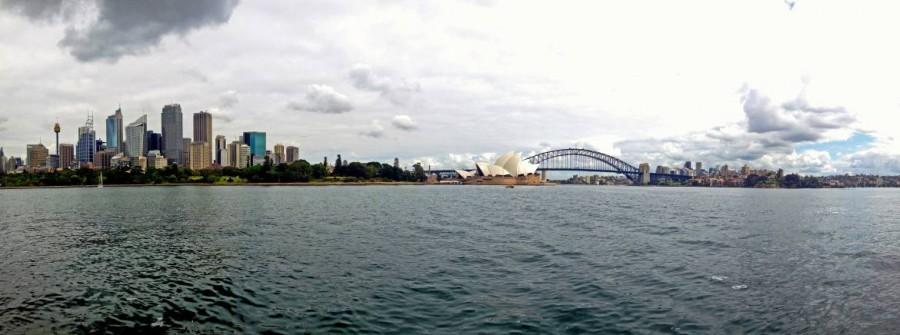 Australien | Panorama der Skyline von Sydney auf die Oper und Harbour Bridge vom Botanischen Garten