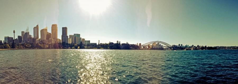 Australien | Skyline von Sydney als Panoramabild mit Blick auf Opera House und Harbour Bridget vom Botanischen Garten aus