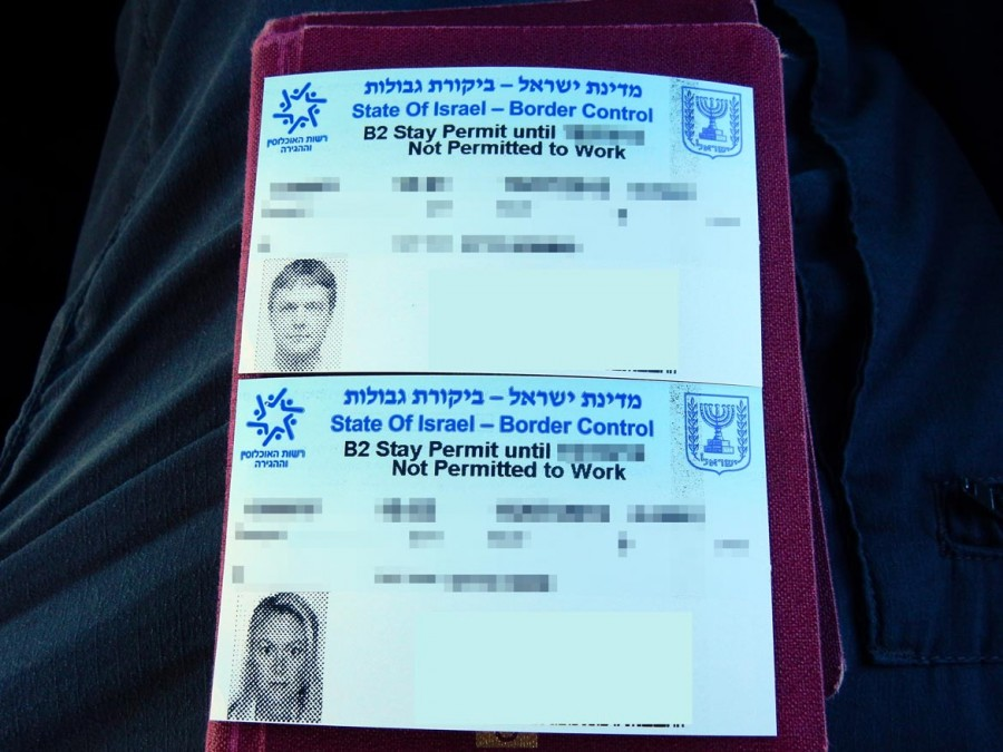 Israel | Blauer Einreisezettel mit Fotos und Passdaten als Einreiseerlaubnis nach Israel