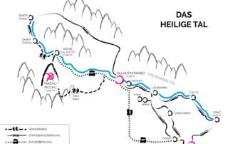 Peru | Heiliges Tal, Karte des Sacred Valley mit den Hauptorten Cusco, Machu Picchu, Ollantaytambo, Urubama & Pisac