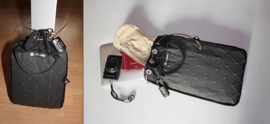 Review pacsafe Travelsafe | Der schwarze Reisesafe schützt den Inhalt durch einen Stahlnetzbeutel der durch ein Stahlseil an einem festen Gegenstand befestigt ist