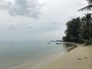 Thailand |Koh Phangan, Strandabschnitt Ao Bang Charu mit Blick Richtung Thongsala. Blick auf weißen Sand am Strand, das Meer und Palmen