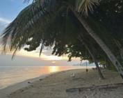 Thailand |Koh Phangan. Ein Highlight und Tipp ist der Strand Ao Bang Charu, der besonders bei Sonnenuntergang wunderschön ist. Weißer Sand, Meer, Palmen, die untergehende Sonne