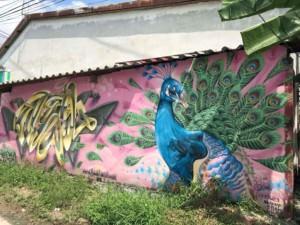 Thailand | Straßenkunst auf Koh Phangan, hier ein Pfau als Graffiti vor einer rosa Wand