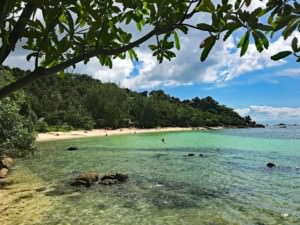 Thailand | Koh Phangan, Haad Son oder Secret Beach genannt ist eine wunderbare Bucht zum Schnorcheln. Blick auf den Strand, blaues Meer, Palmen und Urwald