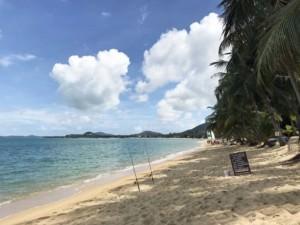 Thailand |Koh Samui, einer der schönsten Strände der Insel Maenam Beach. Blick auf die Bucht mit deinem Sand, blauem Meer, Palmen bei Sonnenschein
