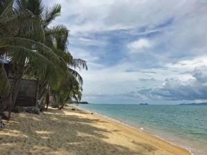 Thailand |Koh Samui, einer der schönsten Strände der Insel: Maenam Beach. Blick auf Palmen, feinen Sand, blaues Meer